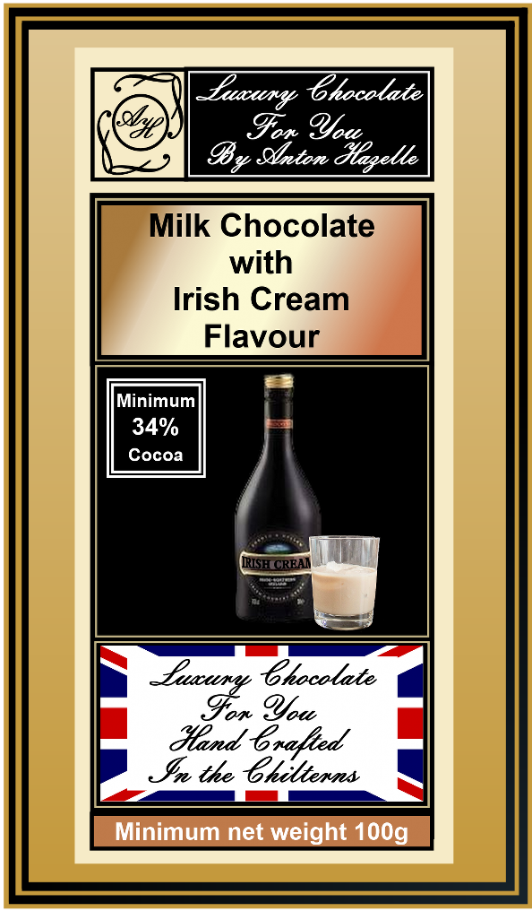34% Milk Chocolate with Irish Cream Flavour