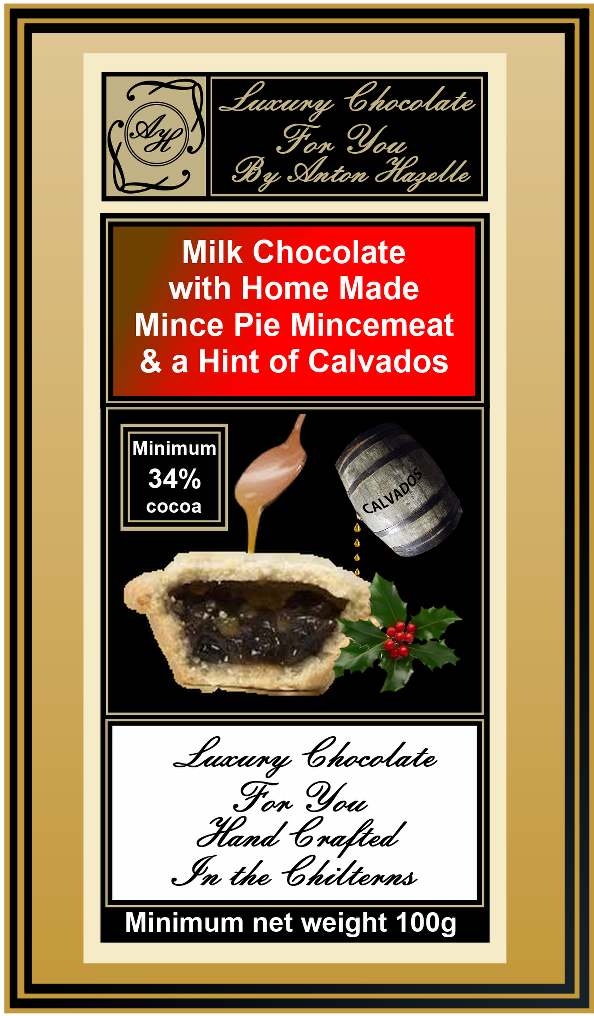 34% Milk Chocolate with Home Made Mince Pie Mincemeat & a Hint of Calvados