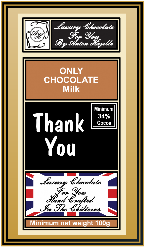 34% Milk Chocolate Only 'Thank You'