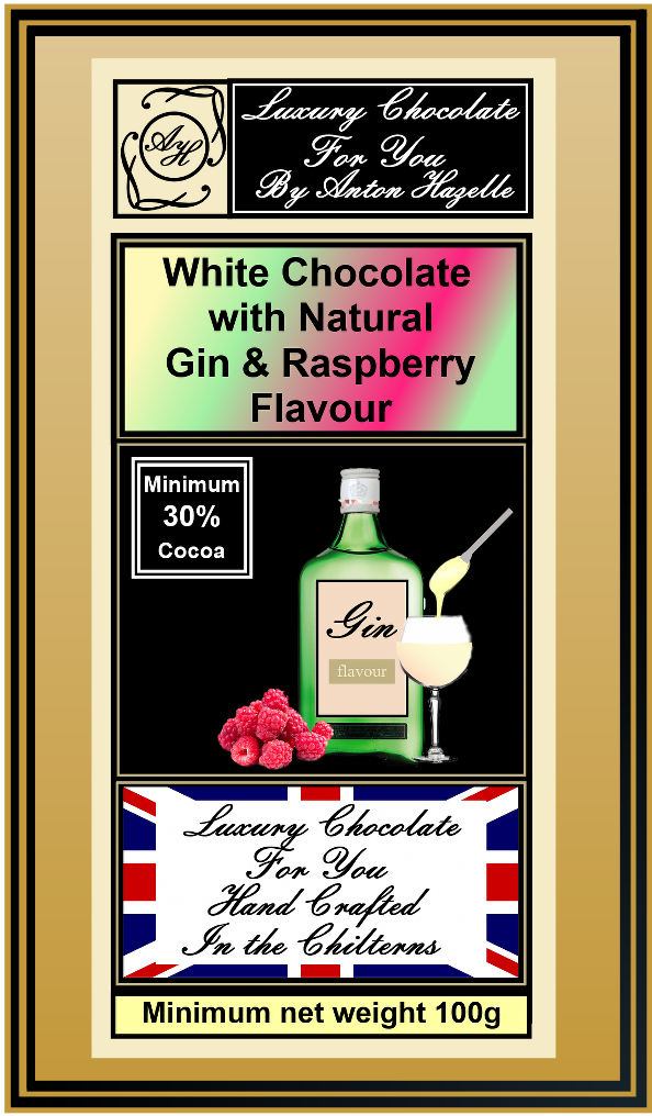 White Chocolate with Gin & Raspberry Flavour