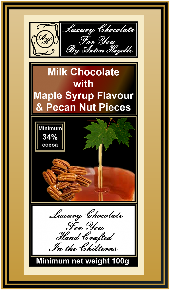 34% Milk Chocolate with  Maple Syrup Flavour
